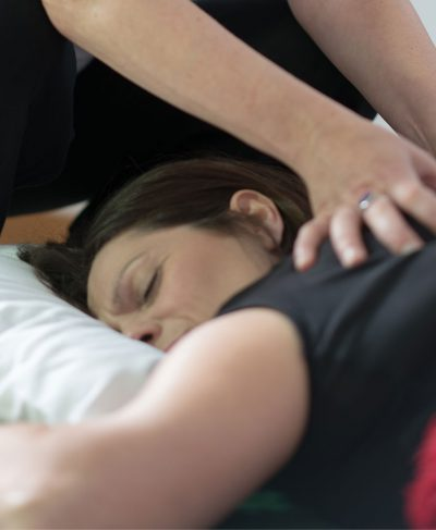 A picture of a client receiving shiatsu