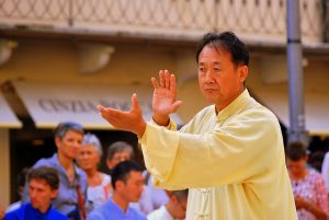 A picture of a man doing Tai Chi