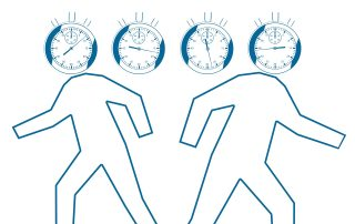 A cartoon image of 2 people with clocks as their heads, running in different directions