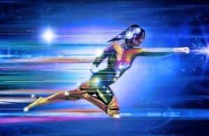 Superhero woman moving at the speed of light